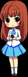 La chica de falda azul